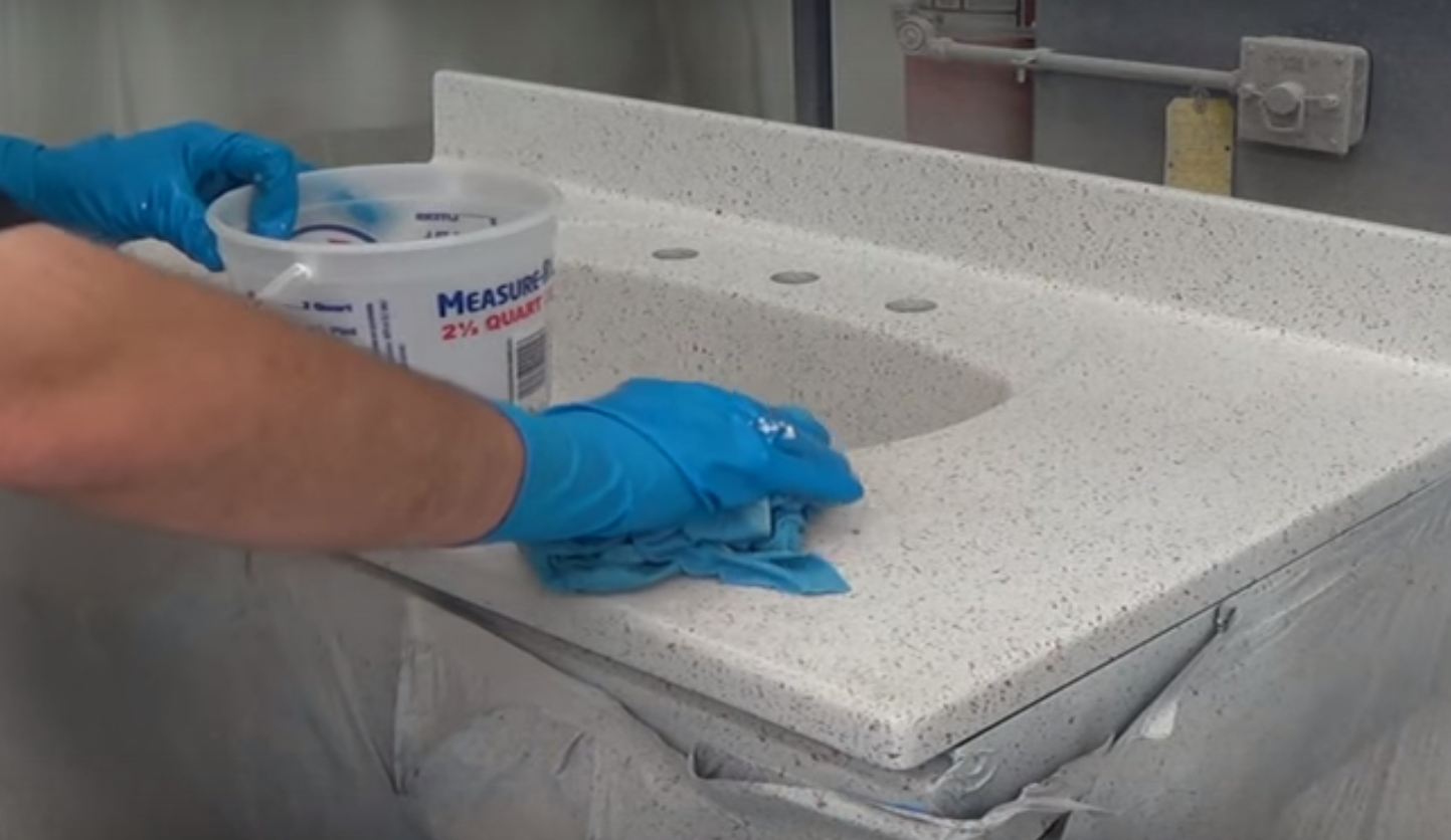 clean and sand countertops before applying multispec paint and topcoats